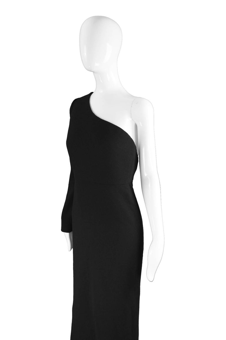 Calvin Klein Collection One Shoulder Black Wool Evening Gown For Sale 3
