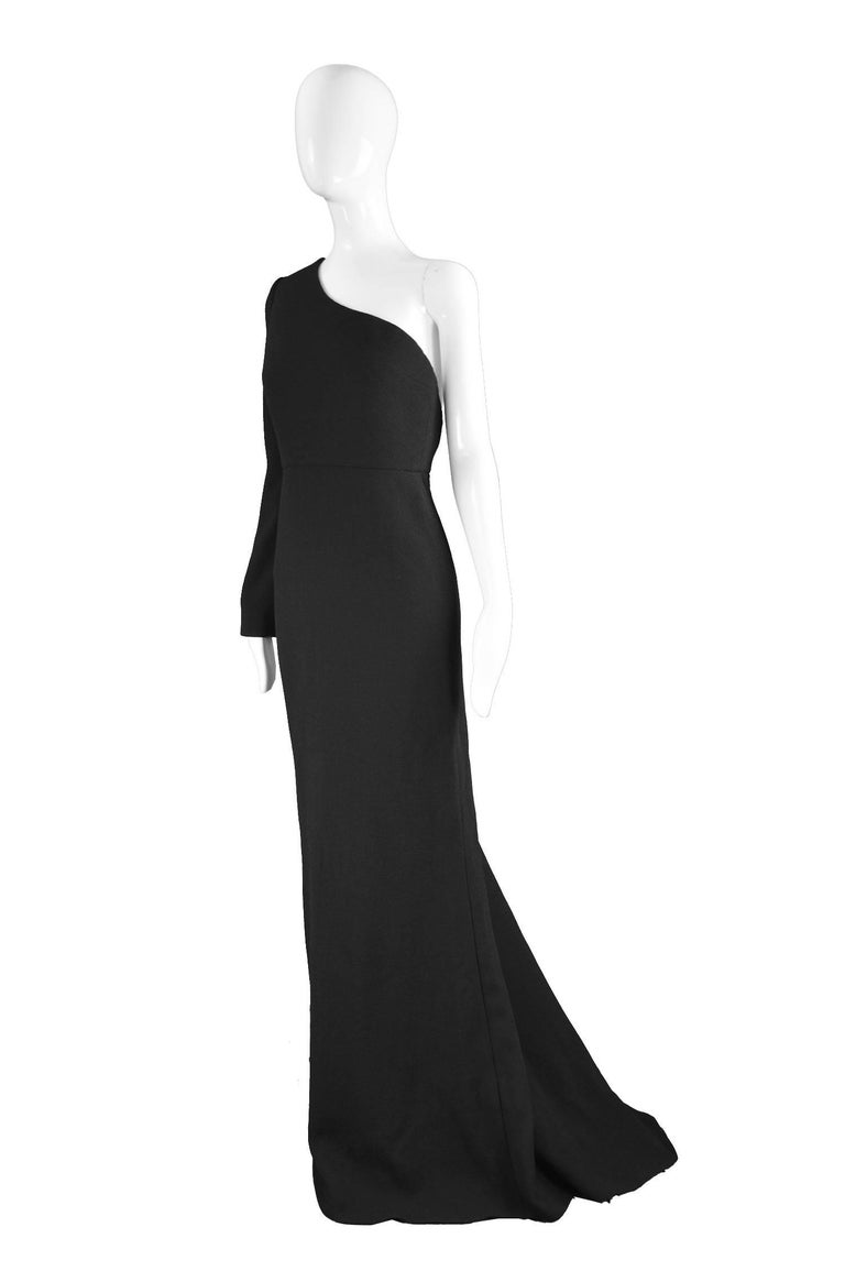 Calvin Klein Collection One Shoulder Black Wool Evening Gown In New Condition For Sale In Doncaster, South Yorkshire