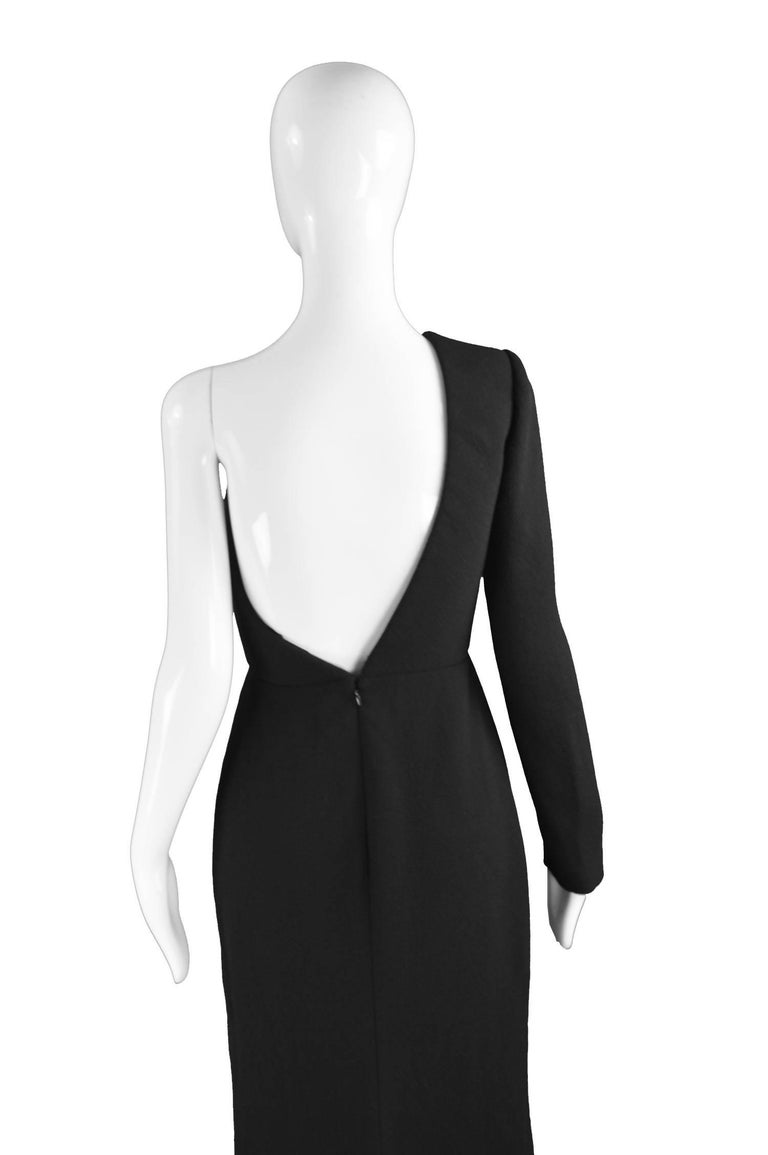 Calvin Klein Collection One Shoulder Black Wool Evening Gown For Sale 4