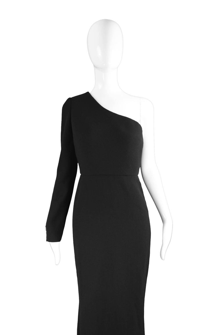 Women's Calvin Klein Collection One Shoulder Black Wool Evening Gown For Sale