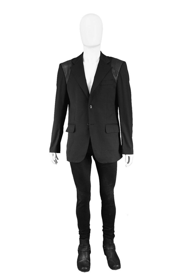 "John Richmond Men's Blazer Jacket with Black Leather Shoulder Panels  Size: Marked I 52 Which is roughly a men's Large. Please check measurements. Chest - 42"" / 106cm Waist - 38"" / 96cm Length (Shoulder to Hem) - 29"" / 73cm Shoulder to Shoulder -"