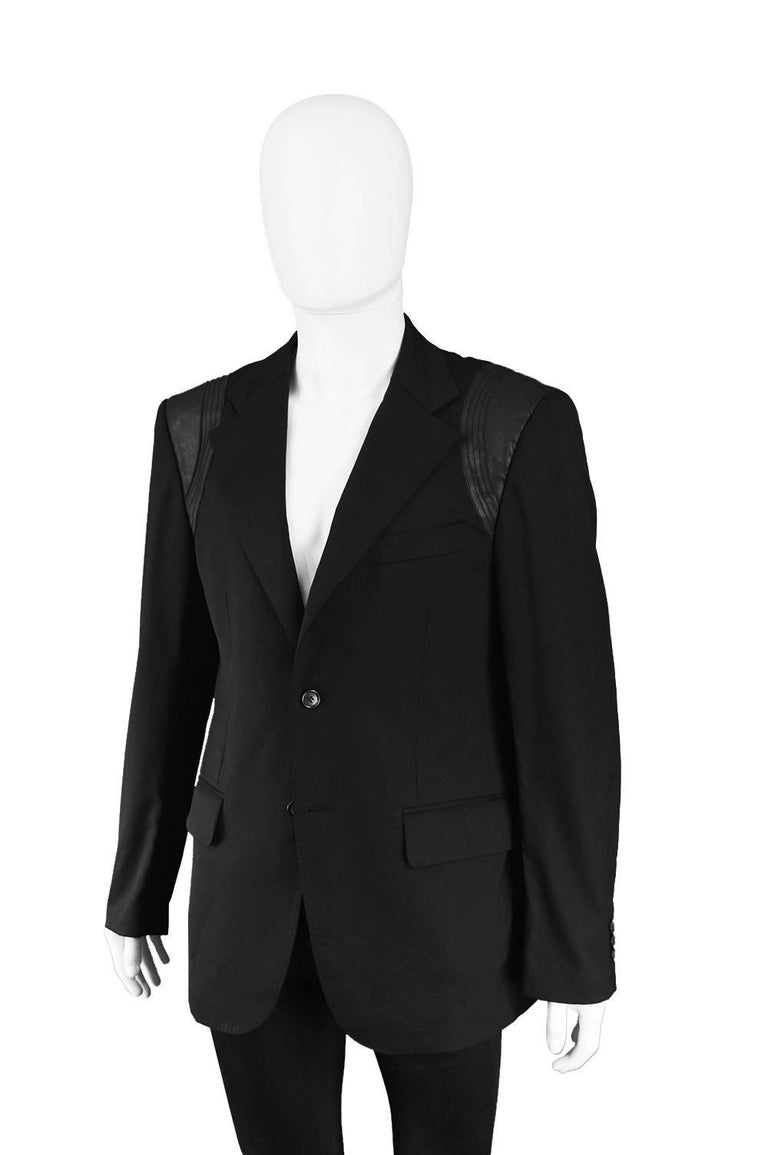 John Richmond Men's Blazer Jacket with Black Leather Shoulder Panels For Sale 3