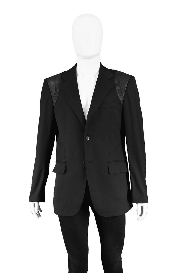 John Richmond Men's Blazer Jacket with Black Leather Shoulder Panels In Excellent Condition For Sale In Doncaster, South Yorkshire