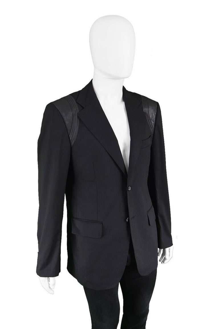 John Richmond Men's Blazer Jacket with Black Leather Shoulder Panels For Sale 2