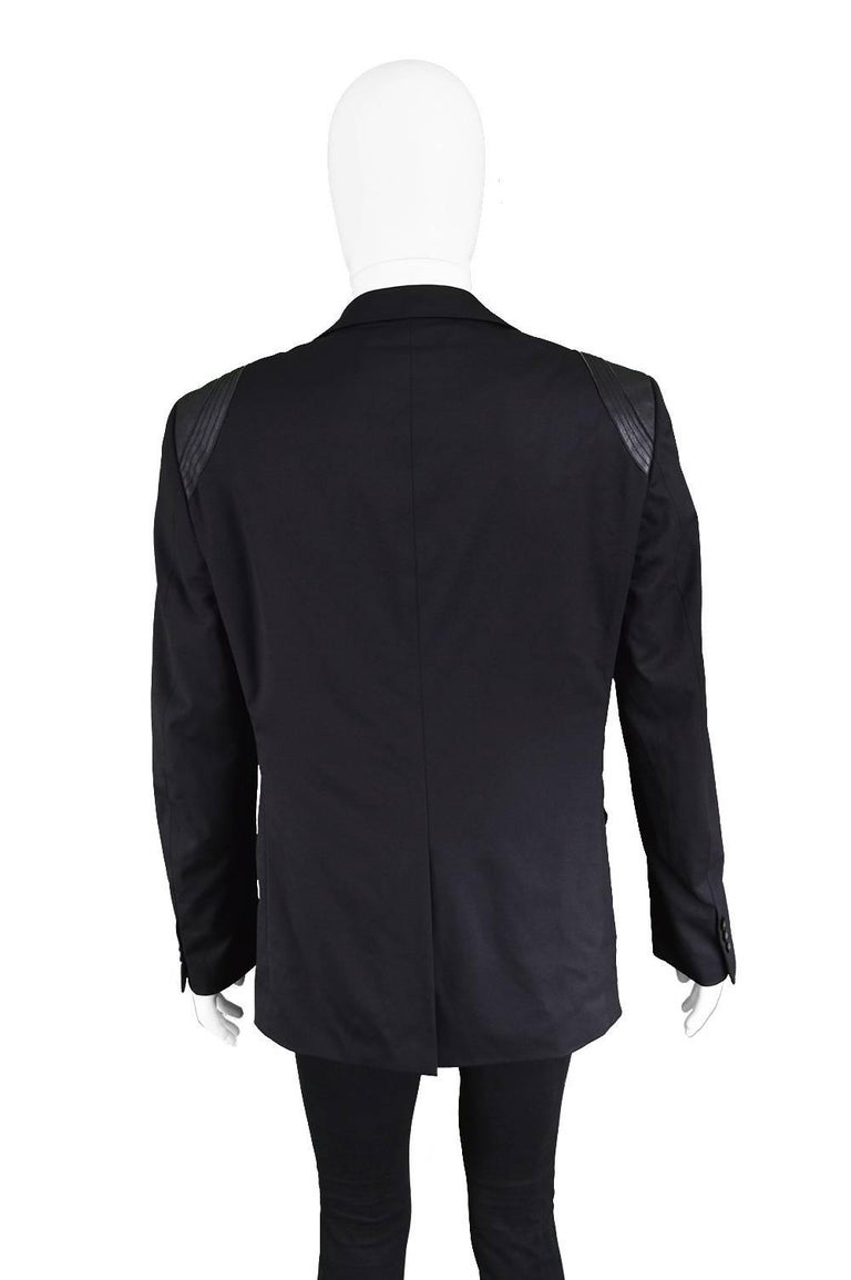 John Richmond Men's Blazer Jacket with Black Leather Shoulder Panels For Sale 4
