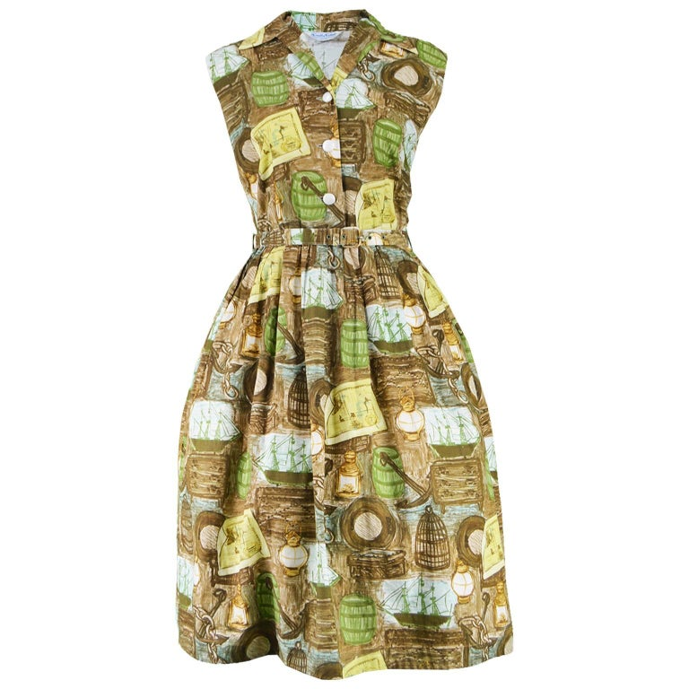 Novelty Print Nautical Theme Brown and Green Vintage Cotton Dress, 1950s