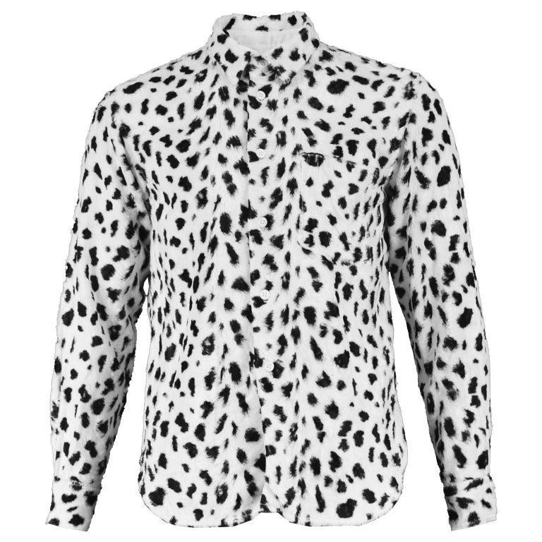 Comme des Garcons Homme Plus Faux Fur Cheetah Print Black and White Men's Shirt