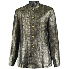 Men's Vintage Metallic Gold Brocade Nehru Collar Mod Jacket, 1960s