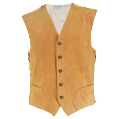 Gucci Vintage Men's Patterned Silk and Italian Suede Leather Vest, 1980s