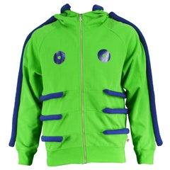 Walter Van Beirendonck Green and Blue Avant Garde Hooded Jacket, A/W 2009/10