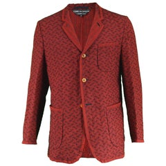 Comme Des Garcons Homme Plus Silk Wool Mohair Red Knit Men's Blazer Jacket