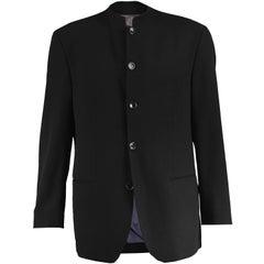 Kenzo Homme Vintage Minimalist Black Wool Nehru Collar Blazer Jacket, 1990s