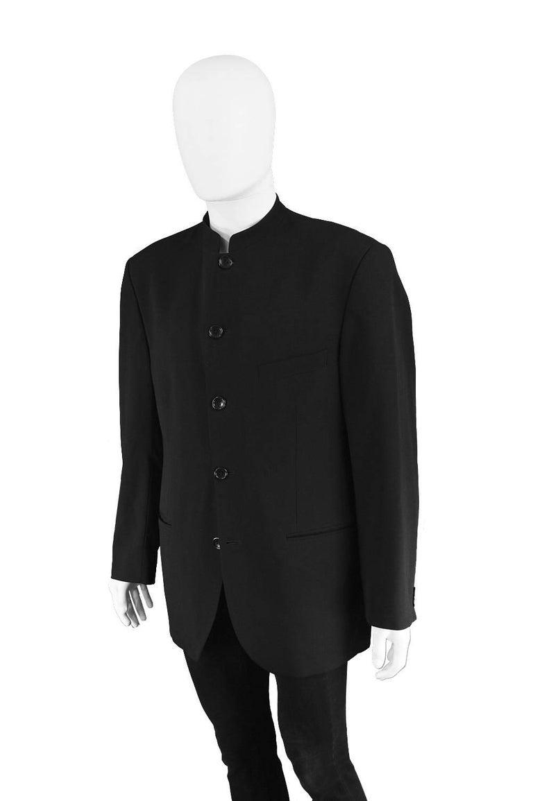 5657db37960 Men s Kenzo Homme Vintage Minimalist Black Wool Nehru Collar Blazer Jacket