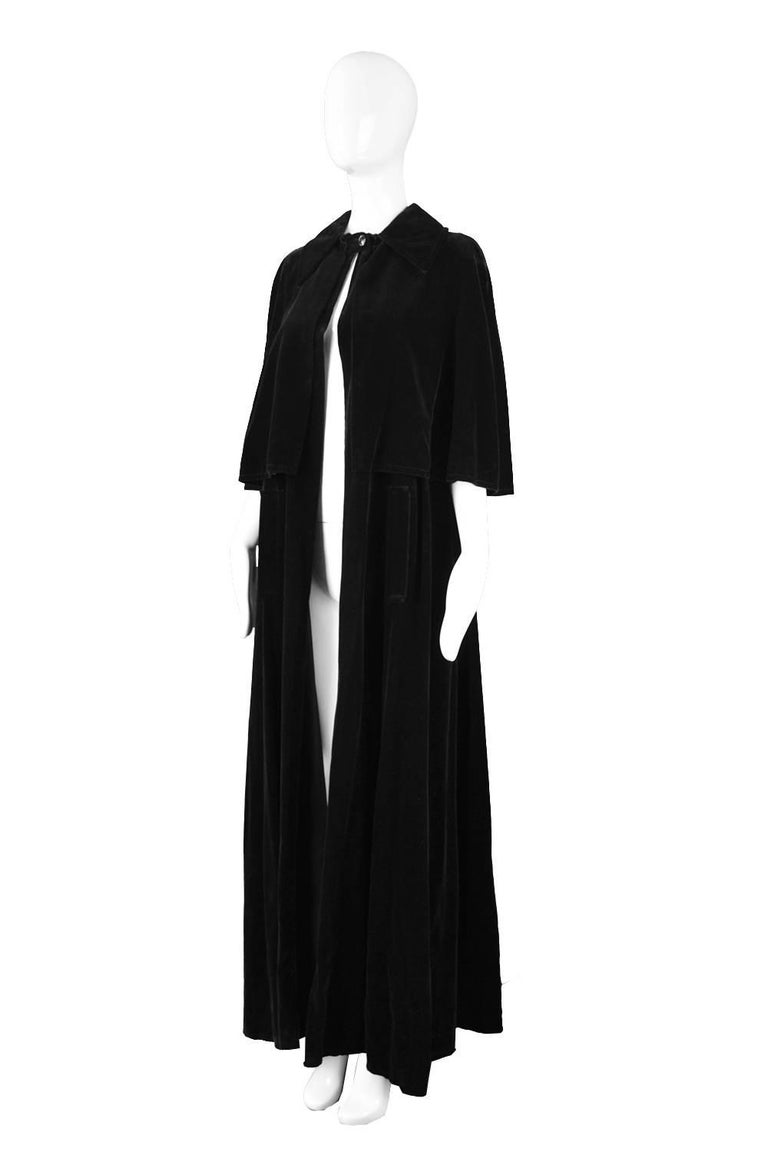 3356ee9df Louis Feraud Full Length Black Velvet Cape Cloak, 1960s For Sale. A rare,  dramatic and sophisticated vintage full length cape/ cloak by couturier and  highly