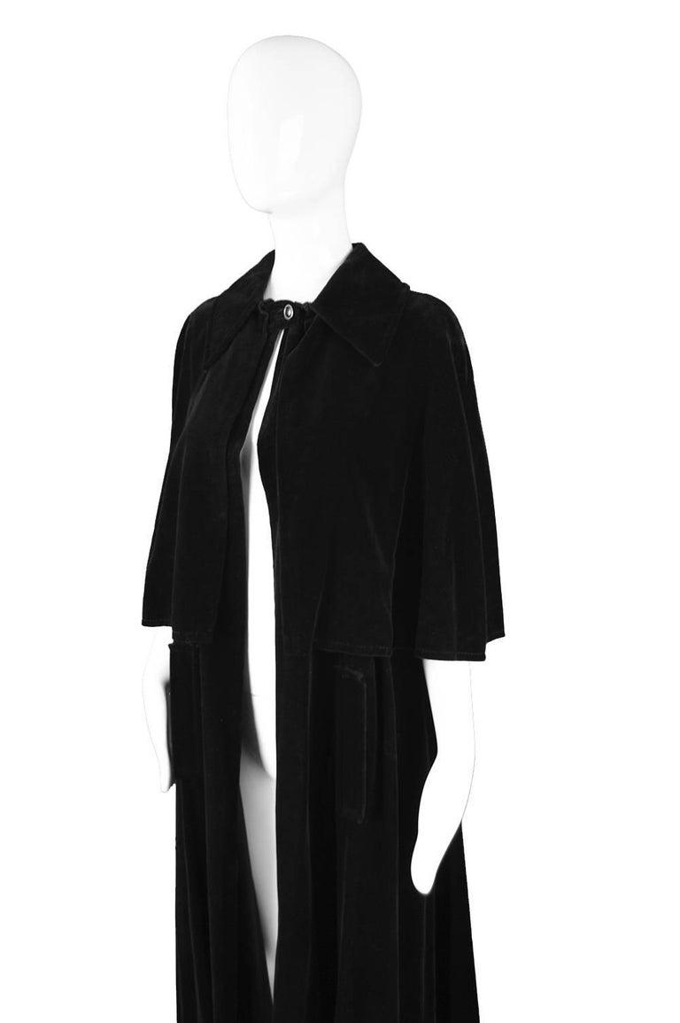 723d41c1c Women's Louis Feraud Full Length Black Velvet Cape Cloak, 1960s For Sale
