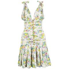 Emanuel Ungaro Vintage Off White Plunging Floral Chiffon Party Dress, 1980s