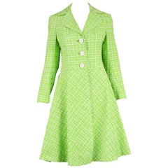 Diorling by Christian Dior London Vintage Green & White Cotton Mod Coat, 1960s