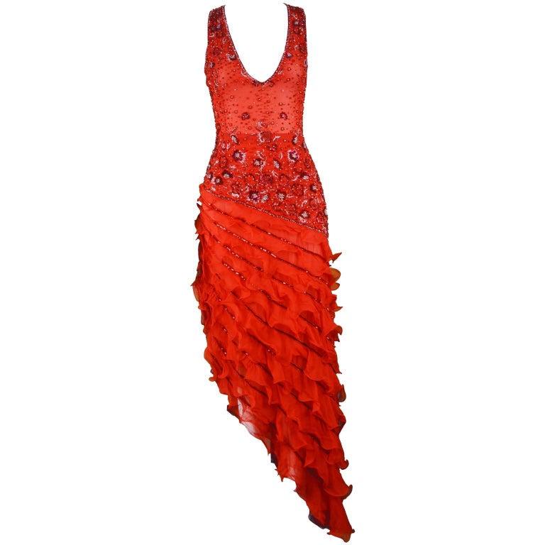 Renato Balestra Italian Haute Couture Beaded Red Silk Flamenco Gown, A / W 1997 For Sale