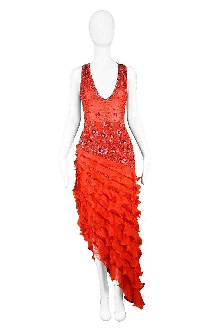 "Renato Balestra Italian Haute Couture Beaded Red Silk Flamenco Gown, A/W 1997  Estimated Size: UK 6-8/ US 2-4/ EU 34-36. Please check meaurements Bust - 32"" / 81cm Waist - 25.5"" / 64cm Hips - 36"" / 91cm Length (Shoulder to Hem) - 60"" /"