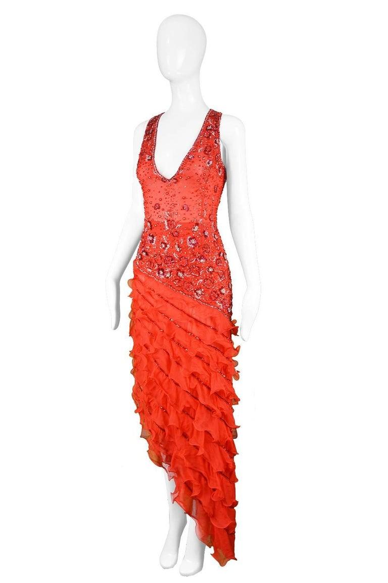 Renato Balestra Italian Haute Couture Beaded Red Silk Flamenco Gown, A / W 1997 For Sale 1