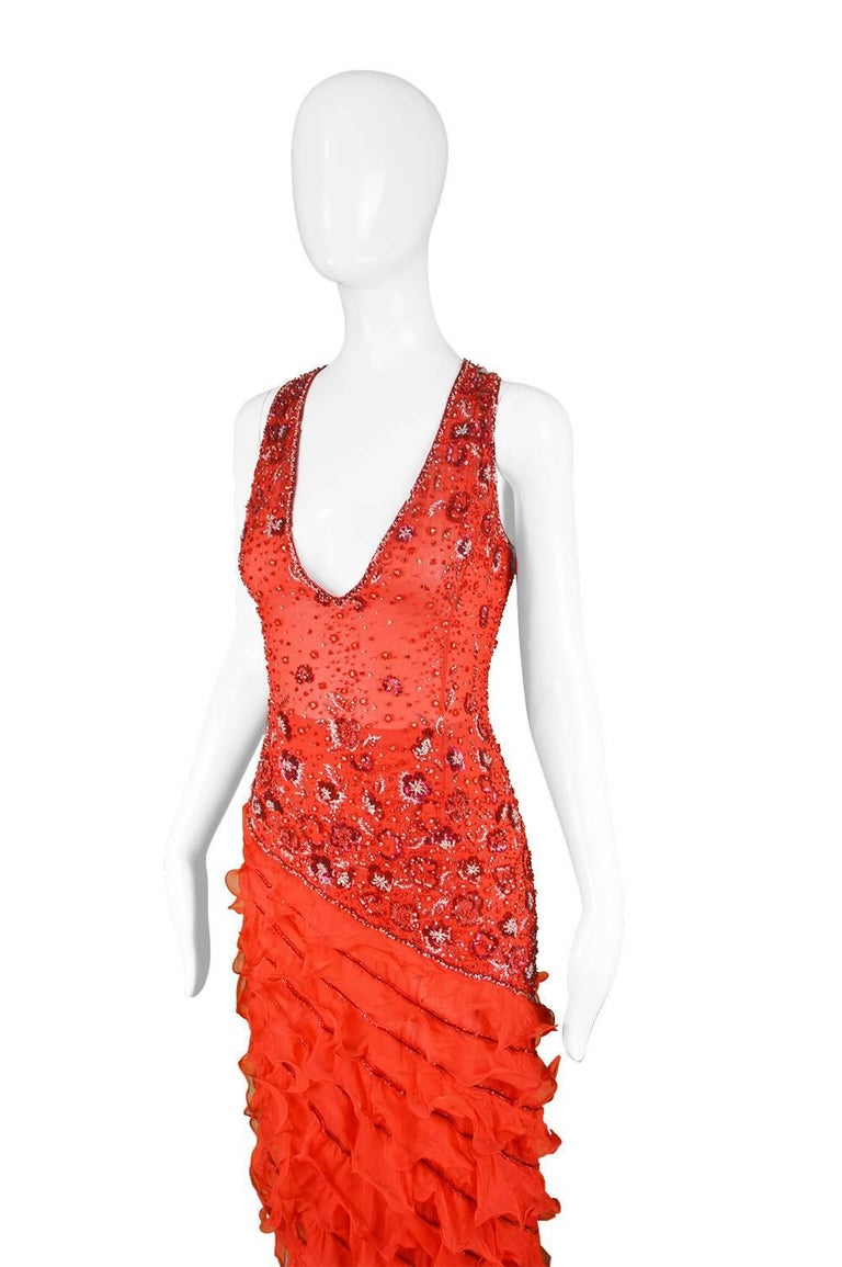 Renato Balestra Italian Haute Couture Beaded Red Silk Flamenco Gown, A / W 1997 For Sale 2