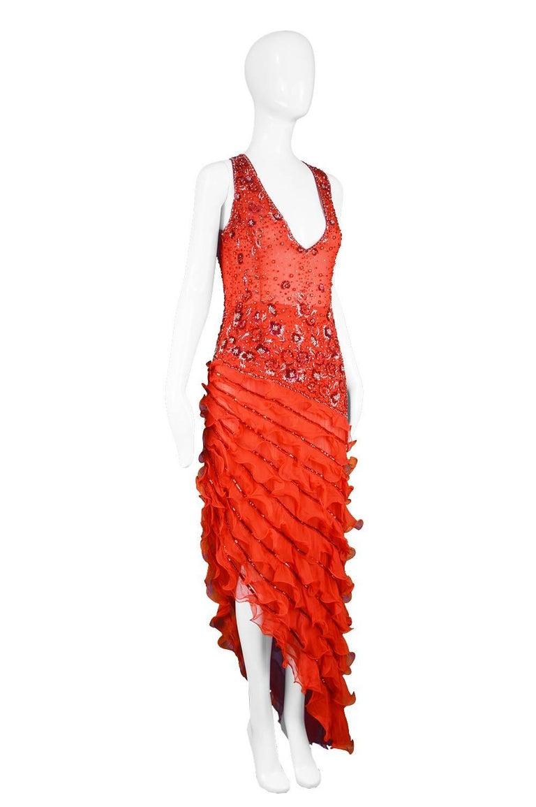 Renato Balestra Italian Haute Couture Beaded Red Silk Flamenco Gown, A / W 1997 For Sale 3