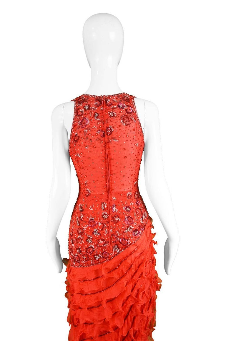 Renato Balestra Italian Haute Couture Beaded Red Silk Flamenco Gown, A / W 1997 For Sale 4