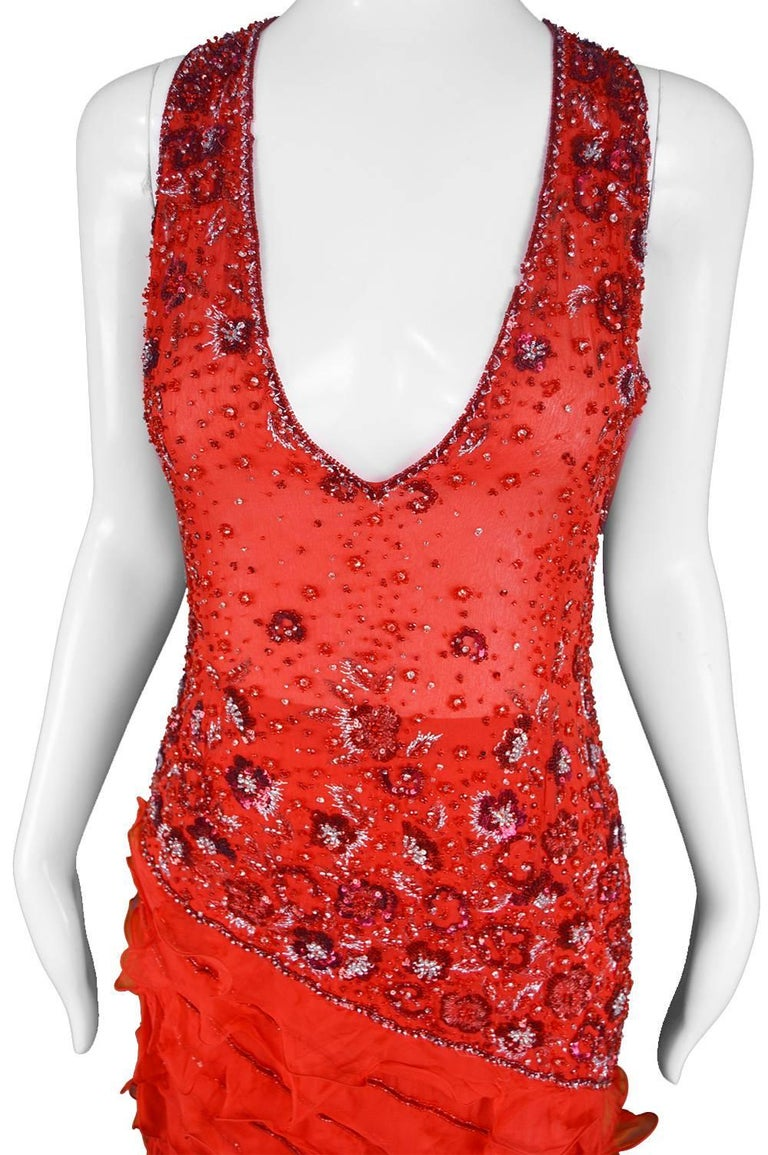 Renato Balestra Italian Haute Couture Beaded Red Silk Flamenco Gown, A / W 1997 In Excellent Condition For Sale In Doncaster, South Yorkshire