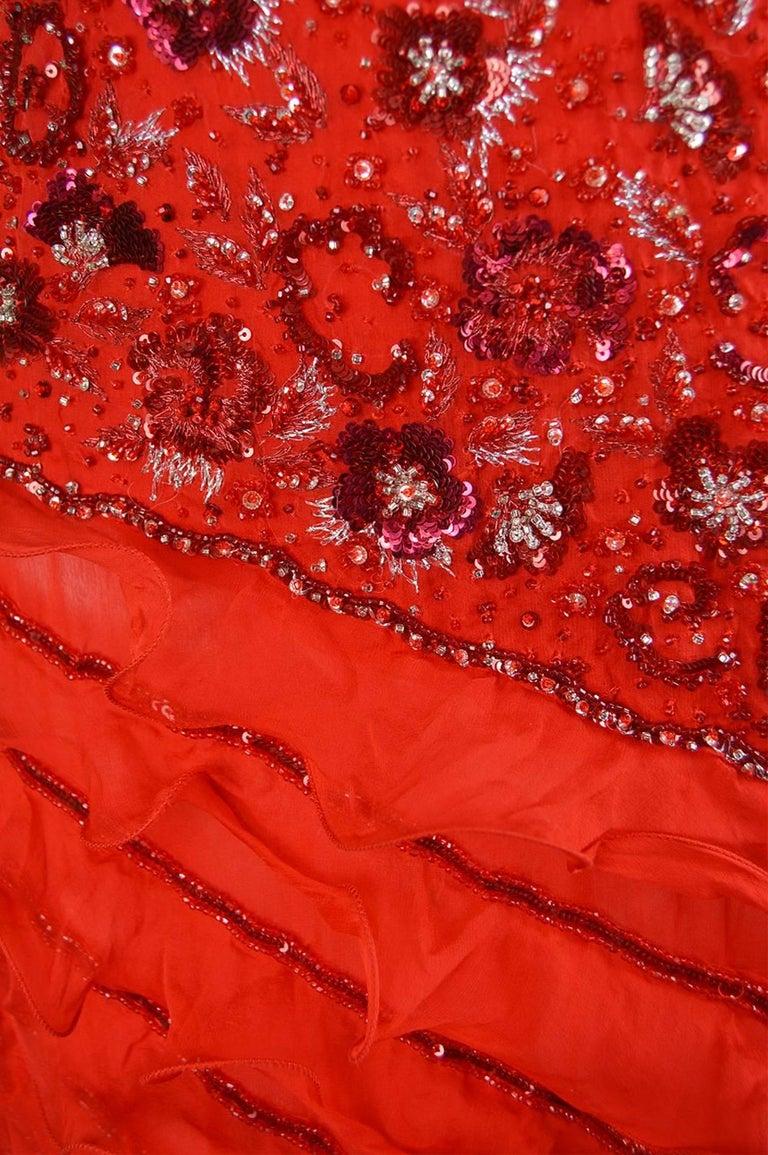 Women's Renato Balestra Italian Haute Couture Beaded Red Silk Flamenco Gown, A / W 1997 For Sale