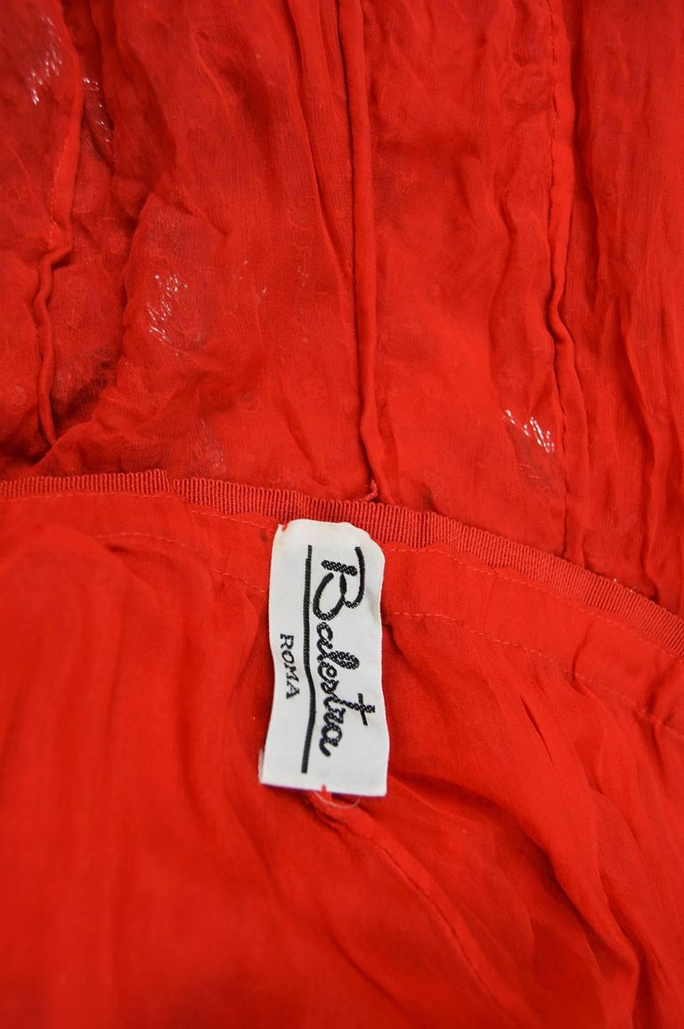 Renato Balestra Italian Haute Couture Beaded Red Silk Flamenco Gown, A / W 1997 For Sale 5
