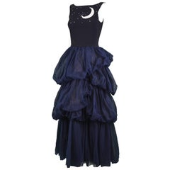 Moschino Vintage Midnight Blue Crepe & Tulle Embroidered Gown, 1990s