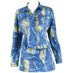 Krizia Vintage Trompe L'oeil Distressed Stretch Denim and Snakeskin Print Set