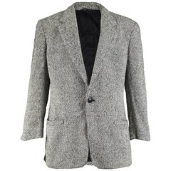 Gianni Versace Vintage Men's Gray Tweed Single Button Blazer Jacket, 1990s
