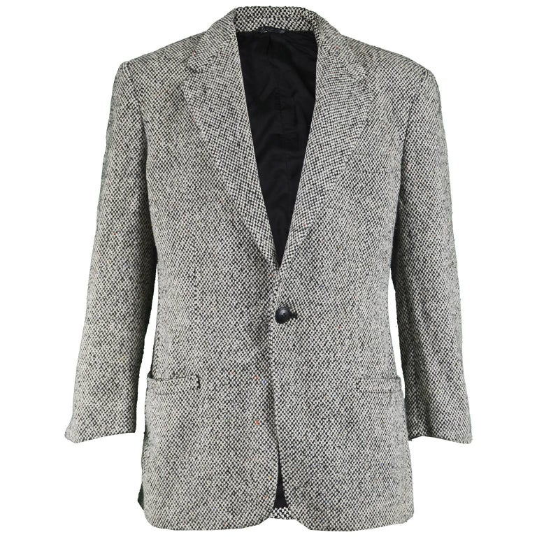 Gianni Versace Vintage Men's Gray Tweed Single Button Blazer Jacket, 1990s