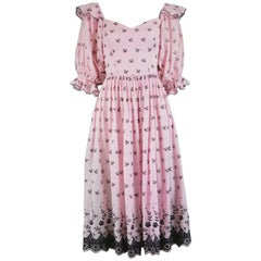 David & Elizabeth Emanuel Vintage Pink Cotton & Broderie Anglaise Dress, 1980s