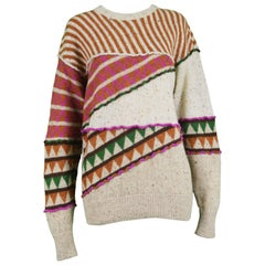 Issey Miyake Vintage 1980s Intarsia Knit Textured Slouchy Wool Tribal Sweater