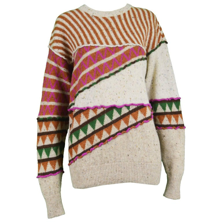 Issey Miyake Vintage 1980s Intarsia Knit Textured Slouchy Wool Tribal Sweater For Sale