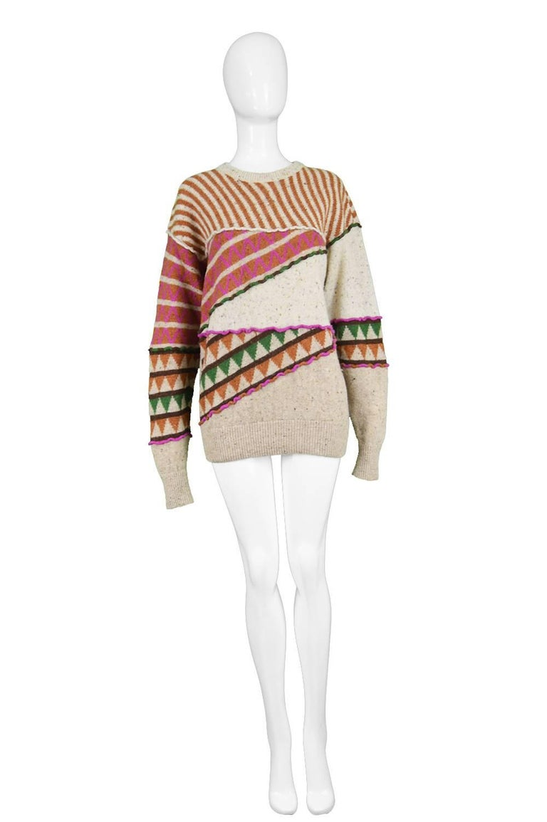 "Issey Miyake Vintage 1980s Intarsia Knit Textured Oversize Wool Tribal Jumper  Size: Marked Japanese M but would also suit a women's Small with the intentional loose, slouchy fit Bust - 40"" / 101cm Waist - 34"" / 86cm Length (Shoulder to Hem) - 26"" /"
