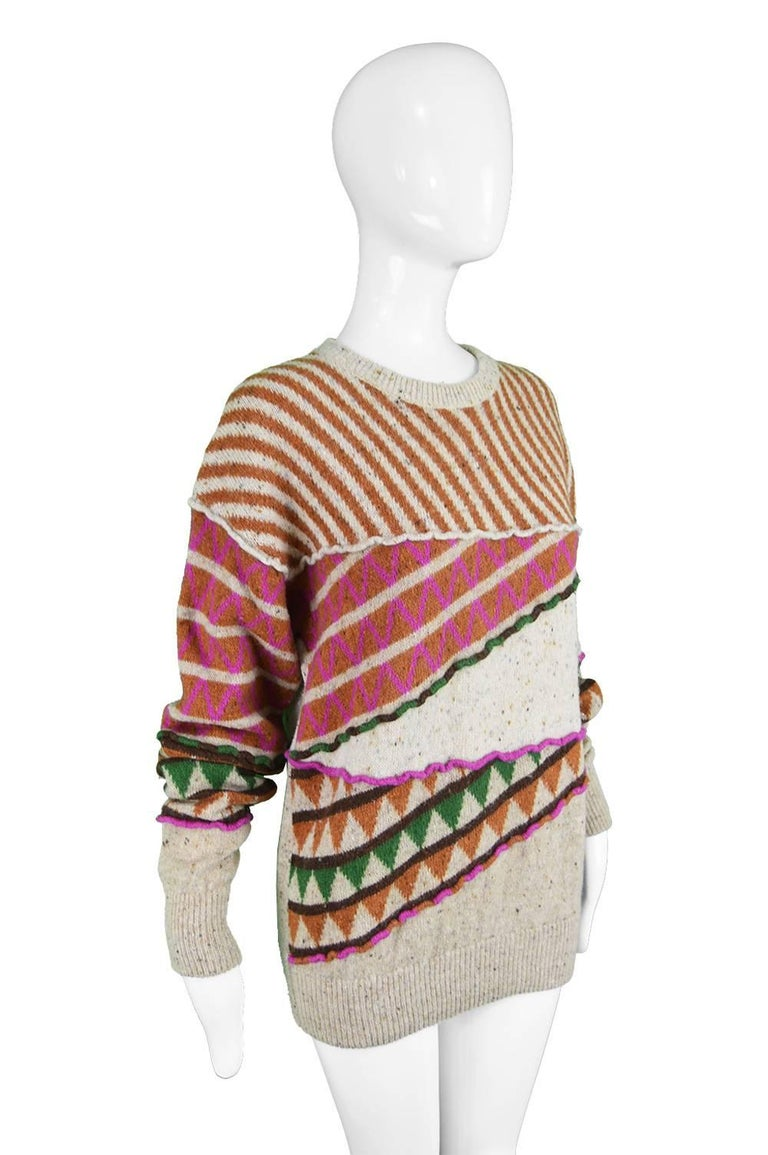 Women's Issey Miyake Vintage 1980s Intarsia Knit Textured Slouchy Wool Tribal Sweater For Sale