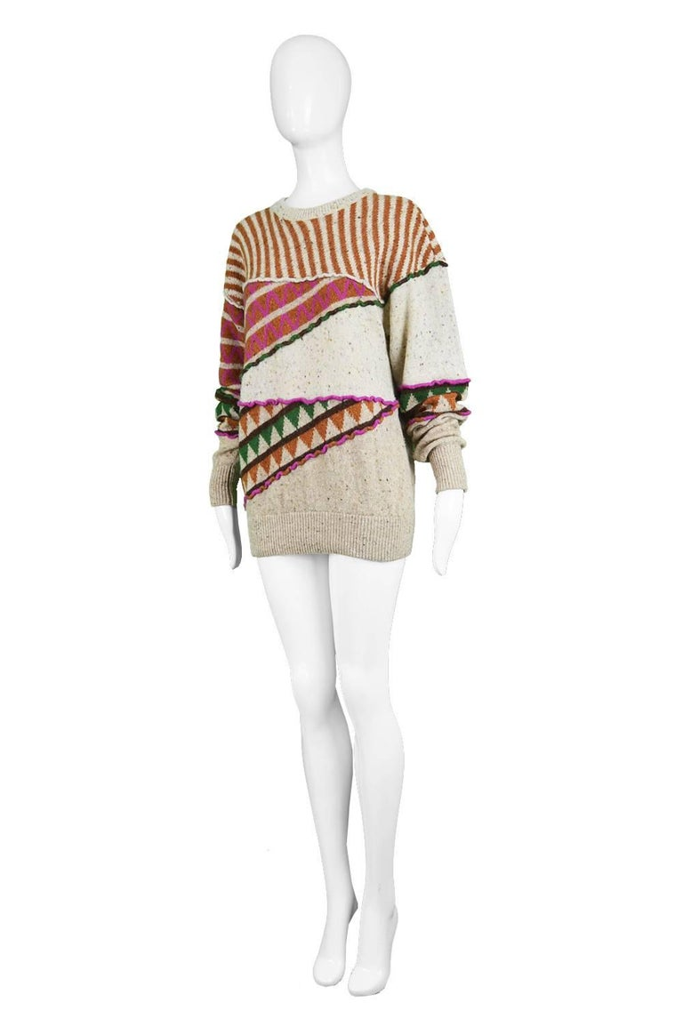 Issey Miyake Vintage 1980s Intarsia Knit Textured Slouchy Wool Tribal Sweater In Excellent Condition For Sale In Doncaster, South Yorkshire