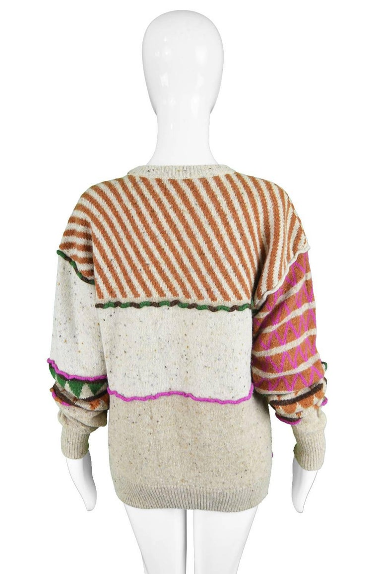 Issey Miyake Vintage 1980s Intarsia Knit Textured Slouchy Wool Tribal Sweater For Sale 2