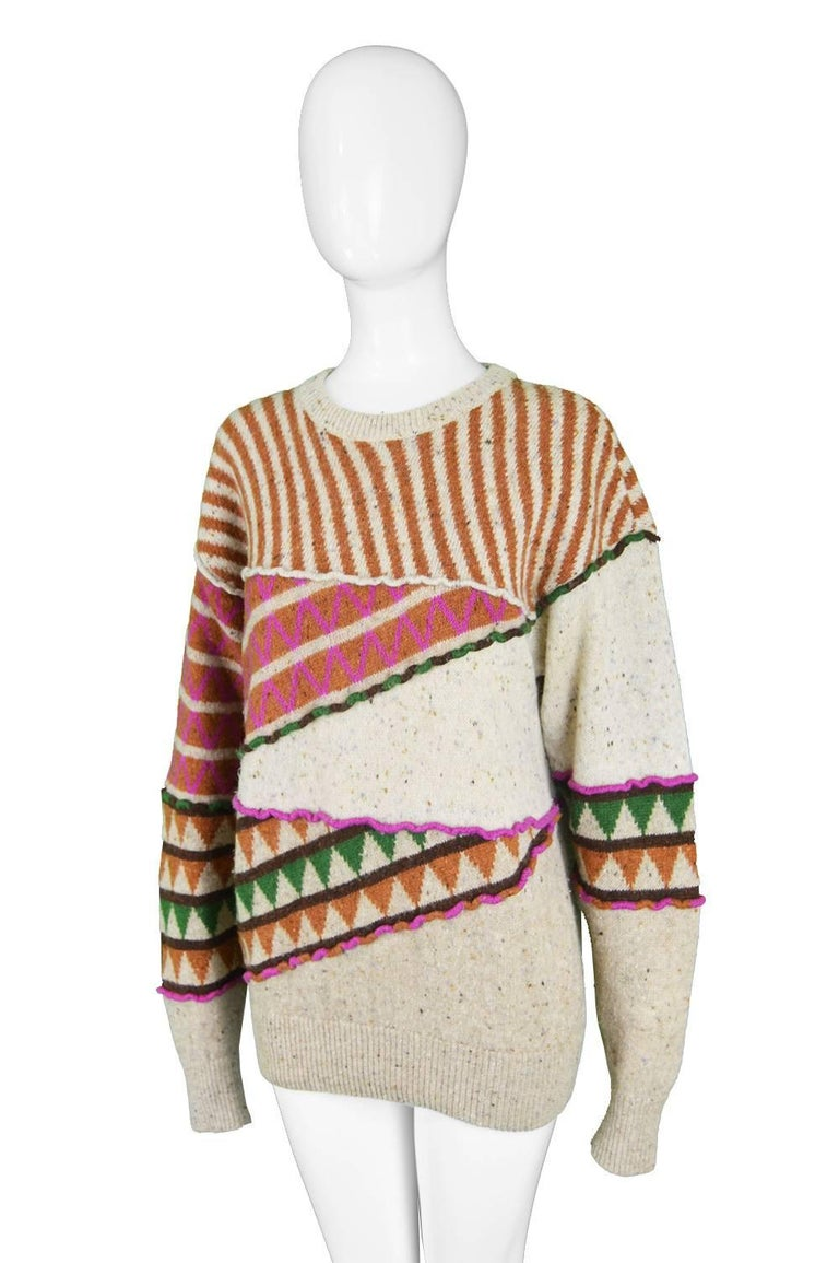 Issey Miyake Vintage 1980s Intarsia Knit Textured Slouchy Wool Tribal Sweater For Sale 1