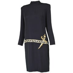 Bob Mackie Vintage Black Jersey Shift Dress with Trompe L'oeil Beaded Dagger