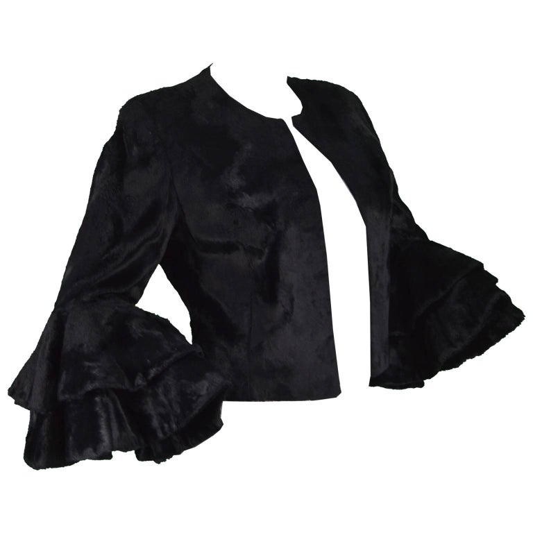 """Moschino """"Fur for Fun"""" Animal Rights Ruffle Sleeve Faux Fur Jacket, 1980s"""