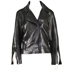 Kenzo Vintage Women's Black Lambskin Leather Motorcycle Jacket, 1990s
