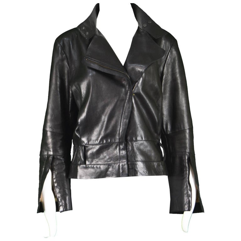 Kenzo Vintage Women's Black Lambskin Leather Motorcycle Jacket, 1990s