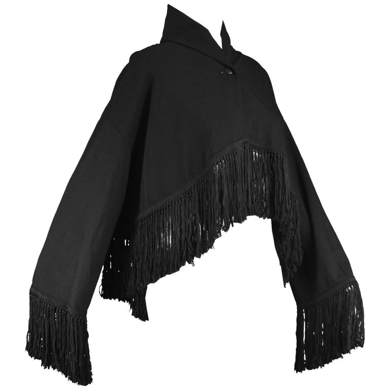 Romeo Gigli for Callaghan Knotted Fringed Black Stretch Wool Jacket, 1990s