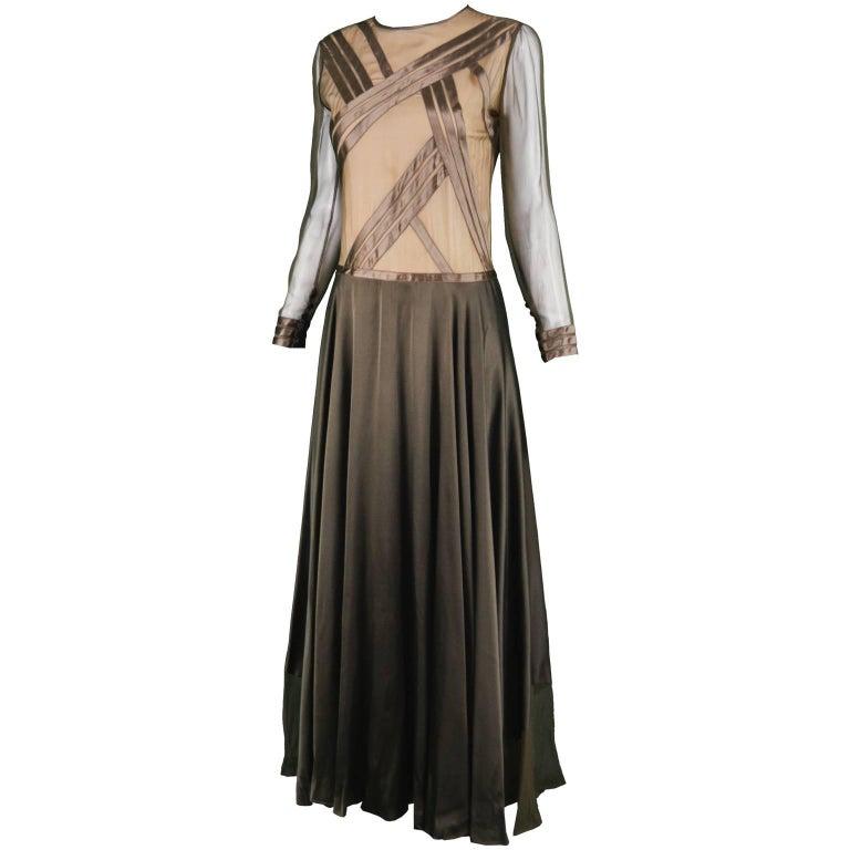Louis Féraud Haute Couture Brown Sheer Silk Chiffon / Bias Cut Satin Gown, 1970s