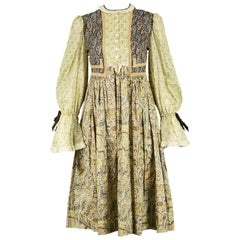 Gina Fratini Vintage Patchwork Fabric Cotton Voile Prairie Dress, 1970s