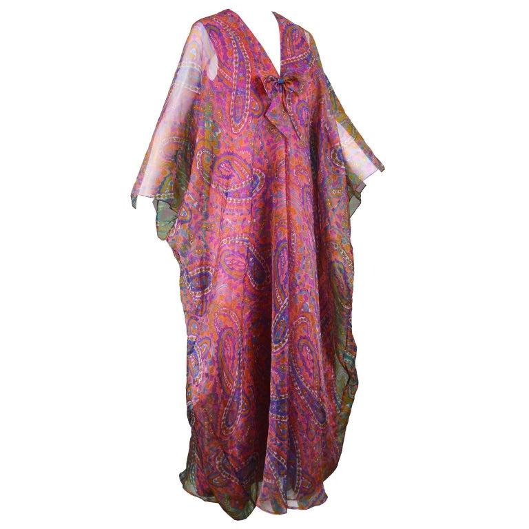 Jean Allen Vintage Pink and Orange Paisley Organza Kaftan Dress, 1970s
